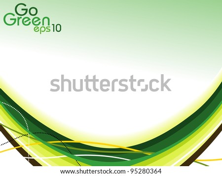 abstract background  with green and yellow color waves. - stock vector