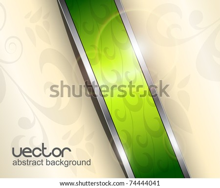 Abstract background with green banner, vector. - stock vector