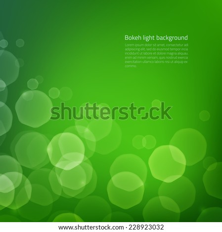Abstract background with green glow bokeh - glowing particles on edges are hidden under clipping mask - stock vector