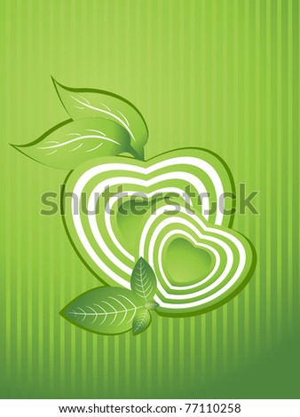 abstract background with green heart shape, nature leaf - stock vector