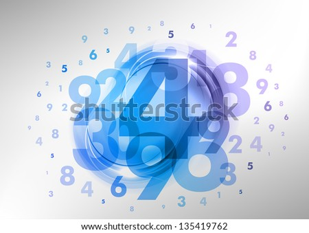 abstract background with green numbers - stock vector