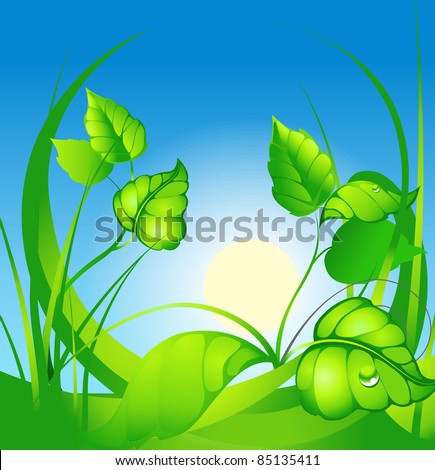 abstract background with green sheet at solar day - stock vector