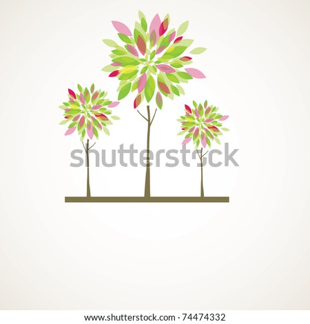 Abstract background with green tree and flowers. Vector illustration - stock vector