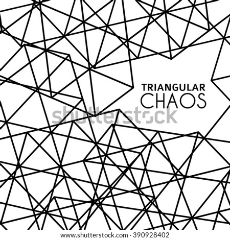 Abstract background with grid textured by black outline triangles. Simple graphic vector pattern - stock vector