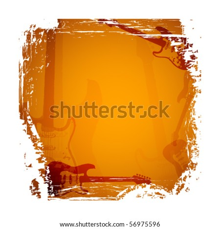 Abstract background with guitar. Vector illustration. - stock vector
