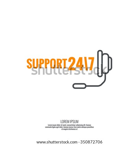 Abstract background with hand phone. Icon. Call technical support. 24, 7. helpline, support service. Contacts. vector. Flat design. minimal, outline, pictogram  - stock vector