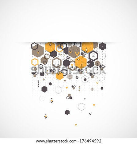 Abstract background with hexagonal shapes - stock vector