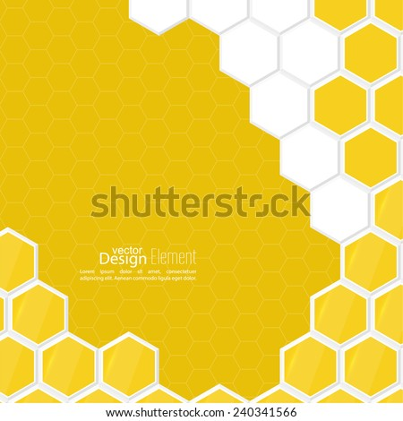 Abstract background with honeycomb, white, yellow. For cover book, brochure, flyer, poster, magazine, booklet, leaflet, cd cover design,  mobile app, annual report template - stock vector