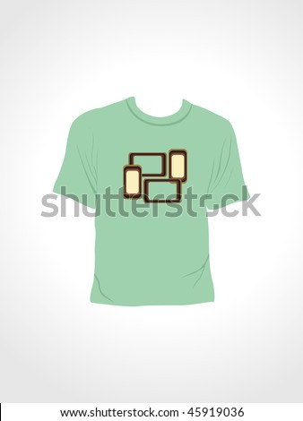 abstract background with isolated green tshirt