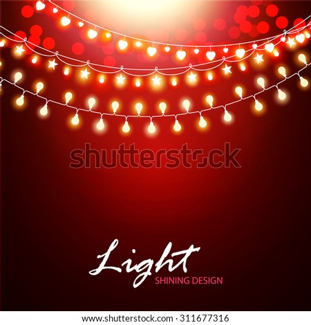 Abstract background with light garland & bokeh. Vector illustration - stock vector