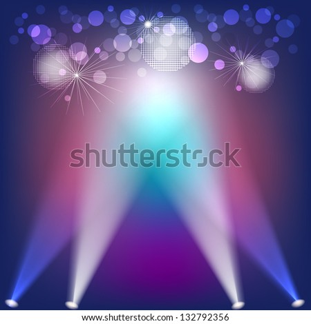 Abstract background with lights and disco balls - stock vector