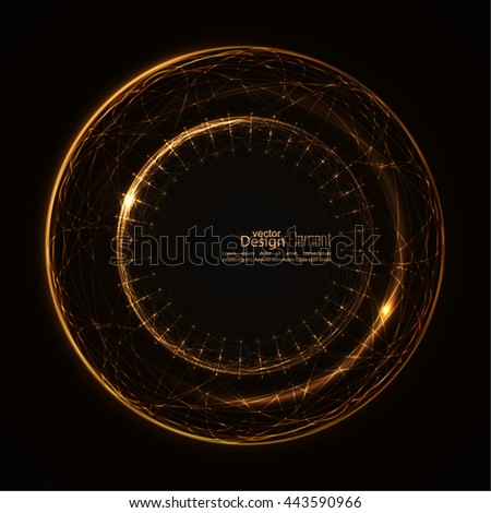 Abstract background with luminous swirling backdrop. Intersection curves. Glowing spiral. The energy flow tunnel. Vector. yellow, gold - stock vector