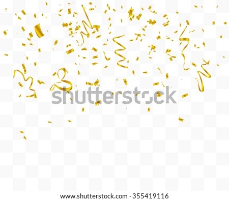 Abstract background with many falling gold tiny confetti pieces. vector background - stock vector