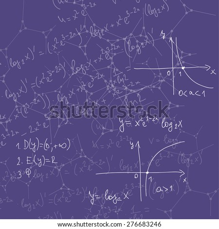 Abstract Background with mathematical formulas, calculations, graphs, proof, DNA molecule structure and scientific research. genetic and chemical compounds