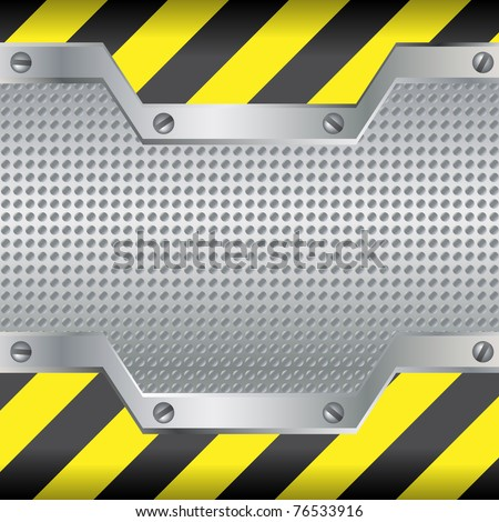 Abstract background with metal plate and screws - stock vector