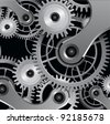 Abstract background with metallic gears, vector. - stock photo
