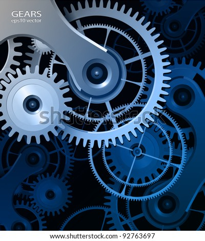 Abstract background with metallic gears, vector. - stock vector
