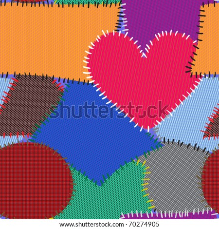 Abstract background with motley textile patches. Seamless pattern for your design. Vector illustration.
