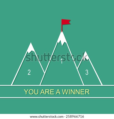 Abstract background with mountains and a red flag at the peak. The concept of overcoming difficulties to achieve winning results. Achieving the goal. - stock vector