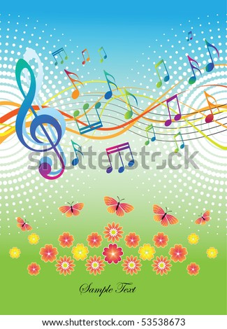 Abstract background with music and butterflies and flowers. The portfolio is similar to the picture. - stock vector