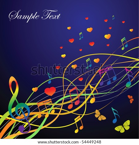 Abstract background with music and hearts and butterflies on a black background. The portfolio is similar to the picture.