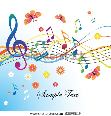 Abstract background with notes and treble clef - stock vector