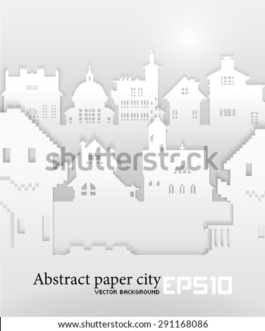 Abstract background with old building 3D Paper, vector - stock vector