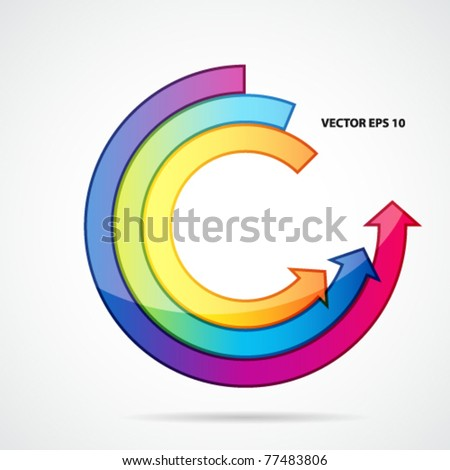 Abstract background with open ring of arrows. - stock vector