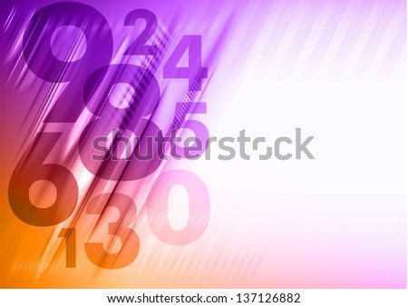 abstract background with orange and purple numbers - stock vector
