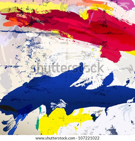 abstract background with paint strokes and splashes, grungy - stock vector