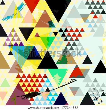 abstract background, with paint strokes, splashes and triangles - stock vector