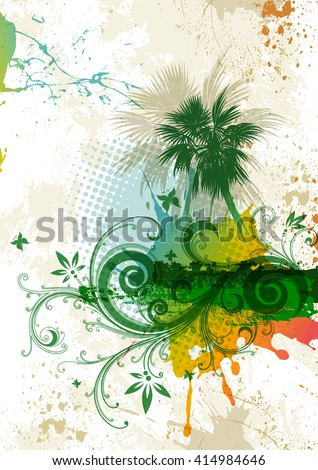 Abstract background with palm trees and tropical flowers