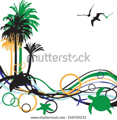 abstract background with palm trees and tropical inhabitants - stock vector