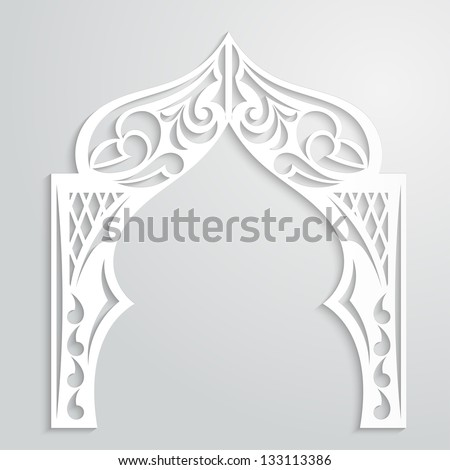 Abstract background with paper arch in the Asian style - stock vector