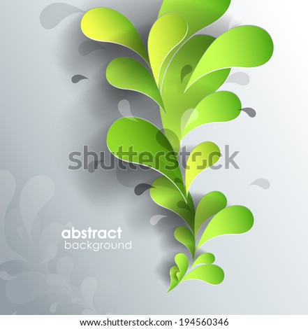 Abstract background with paper flower.  - stock vector