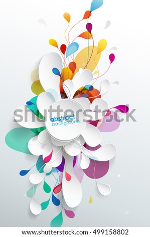 Abstract background with paper flower - vertical version.