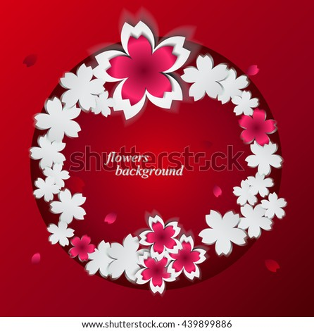 Abstract background with paper flowers and place for text. Vector illustration. Sakura on red card paper with a round label.. Pink and white Cherry blossoms cutout paper vector flower