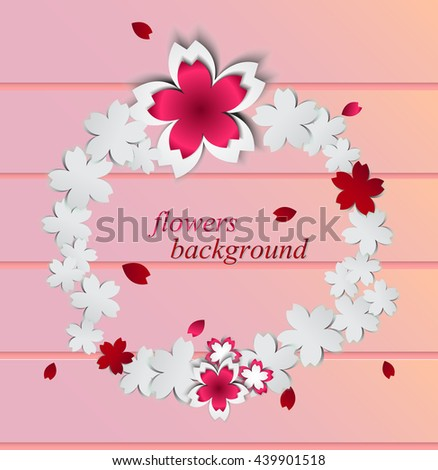 Abstract background paper flowers place textvector stock vector abstract background with paper flowers and place for textctor illustrationkura on wood mightylinksfo