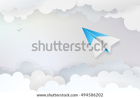 Abstract background with paper plane, clouds and birds - vector illustration
