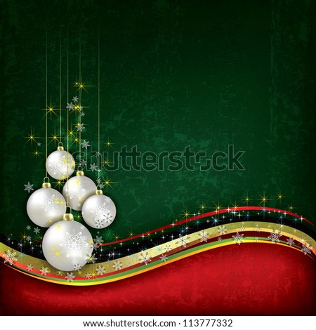 Abstract background with pearl Christmas decorations on green - stock vector