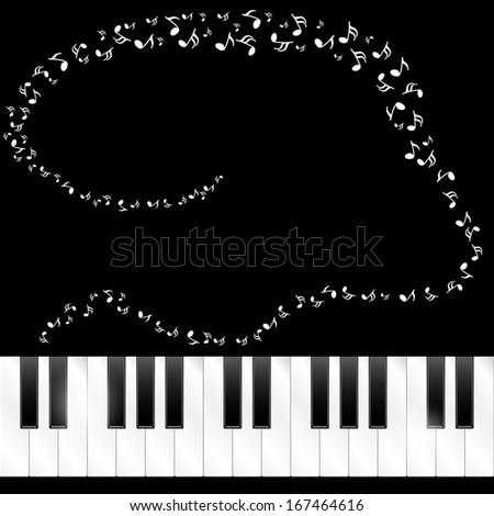 Abstract background with piano keys and music notes  - stock vector