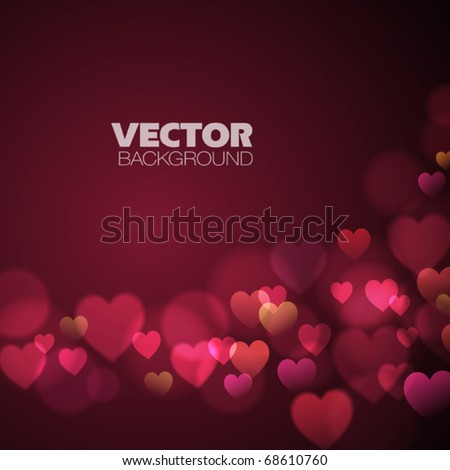 Abstract Background with pink hearts - stock vector