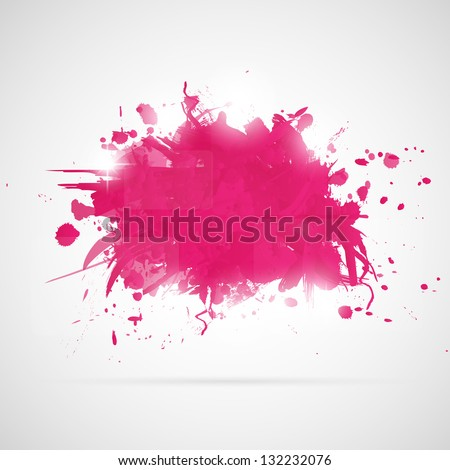 Abstract background with pink paint splashes. - stock vector