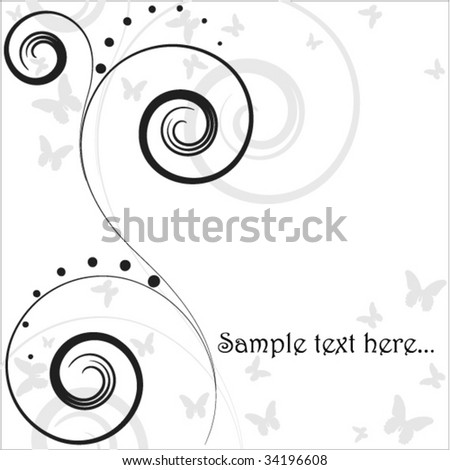 abstract background with place for your text and butterflies - stock vector