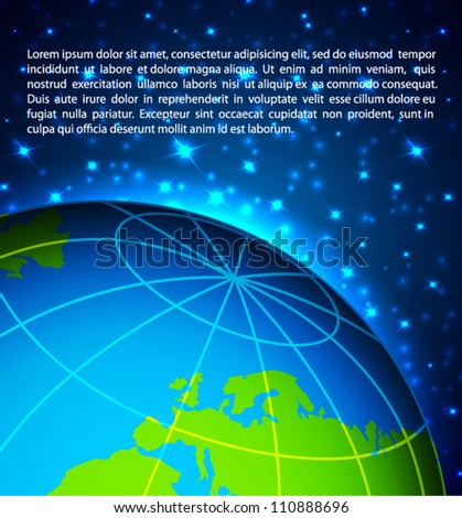 Abstract background with planet and stars - stock vector