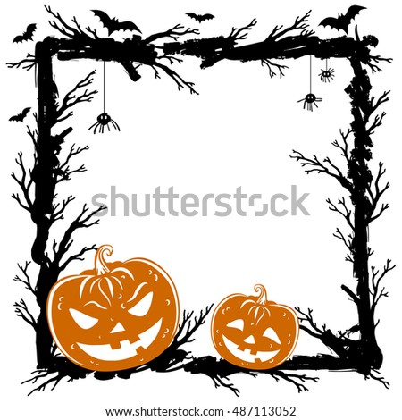 Abstract background with pumpkins, black spiders and bats. Halloween Party template. Vector