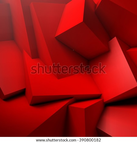 Abstract background with realistic overlapping red cubes - stock vector