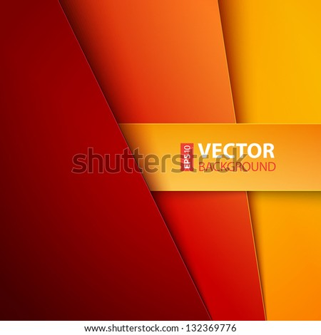 Abstract background with red and orange paper layers. RGB EPS 10 vector illustration - stock vector