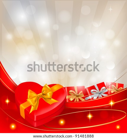 Abstract background with red bow and ribbons. Vector.