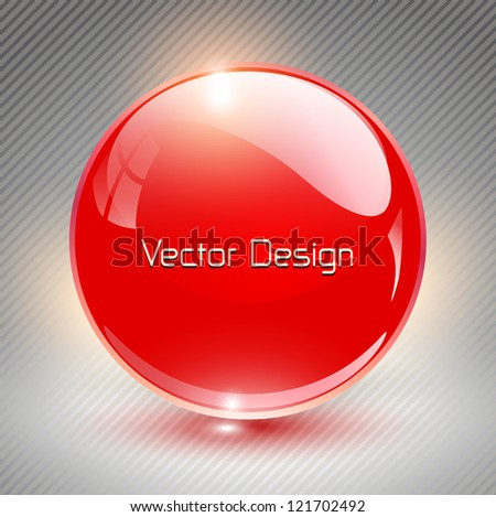 Abstract background with red glass balls as vector speech bubble - stock vector